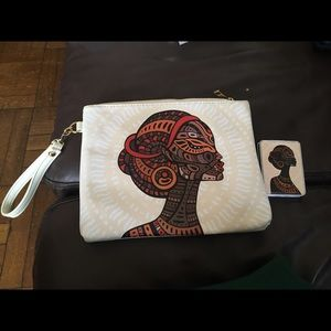 African Print Wristlet and Mirror